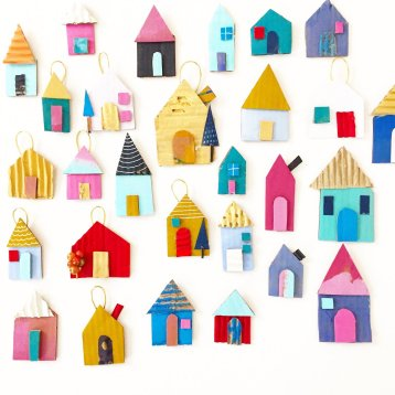 Cardboard House Ornament - 1